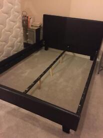Dark brown leather double bed frame