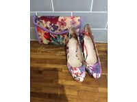 Ladies faith shoes and matching clutch bag