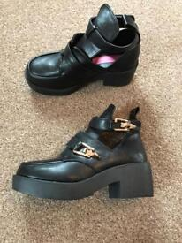 Chunky Heeled Ankle Boots, Size 4.