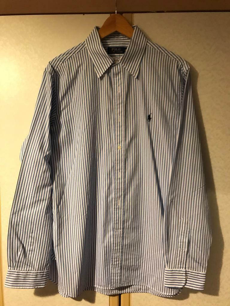 Ralph Lauren Polo Custom Fit Slim Fit Size Large Casual Smart Shirt in stripy white and blue