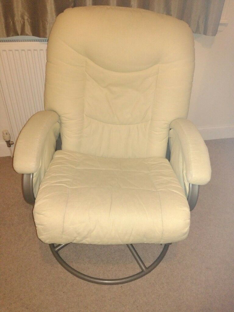 Reclining sofa chair cream baby feeding