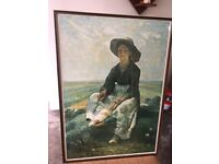Framed print of Young Shepherdess by Jean Francois Millet