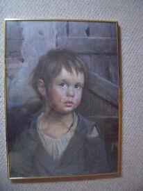 Signed G Bragolin kitsch vintage retro Crying Boy print/board-Nielsen gold metal frame/glass.£25 ono