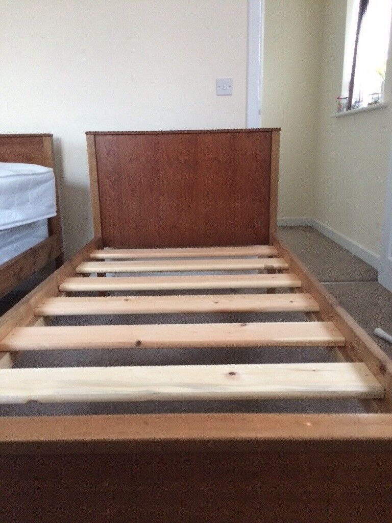 wooden single bed frame