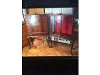 40/50s vintage cocktail cabinet & Display cabinet great condition walnut veneer