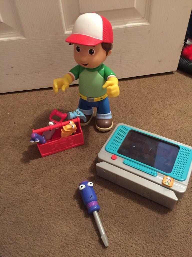 Handy manny with tools and tv to fix