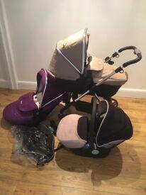 Silver Cross Travel System - Sand, wild purple & chrome. Pram, pushchair & car seat