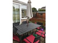 Black Garden Table and 6 Chairs