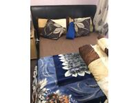 Double bed ottoman and four door wardrobe