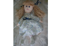 Handmade Dressed Rag Doll - Blue