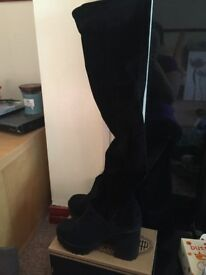 Black Suede over the Knee Size 6 boots never been worn!