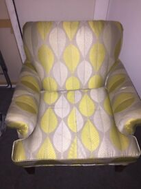 Beautiful one of a kind leaf patterned armchair