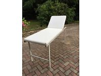 White Leather Look Beauty and Massage treatment bed (comes with support brackets)
