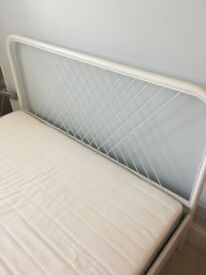 Modern Ikea white Double bed (Nesttun) with mattress (Hafslo)