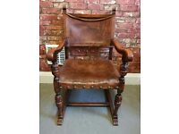 Vintage Leather Wooden Armchair Man Cave Retro Smoking Chair