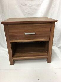 Oaklohama 1 Drawer Bedside Chest/ Lamp Table, Walnut Effect SALE SALE
