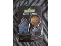 COOKIE MONSTER METAL COOKIE CUTTERS BRAND NEW STILL SEALED IN PACKET