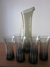 Glass water jug and 6 glasses