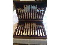 Antique Set of Silver Plated Mother of Pearl Fish Knife and Fork Cutlery Set