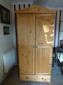 Pine double wardrobe with drawer
