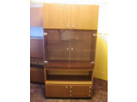 Old style retro wood effect display and storage cabinet.