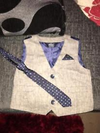Boys Waistcoat and Tie 9-12 Months