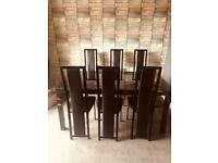 6 seater black glass extendable table