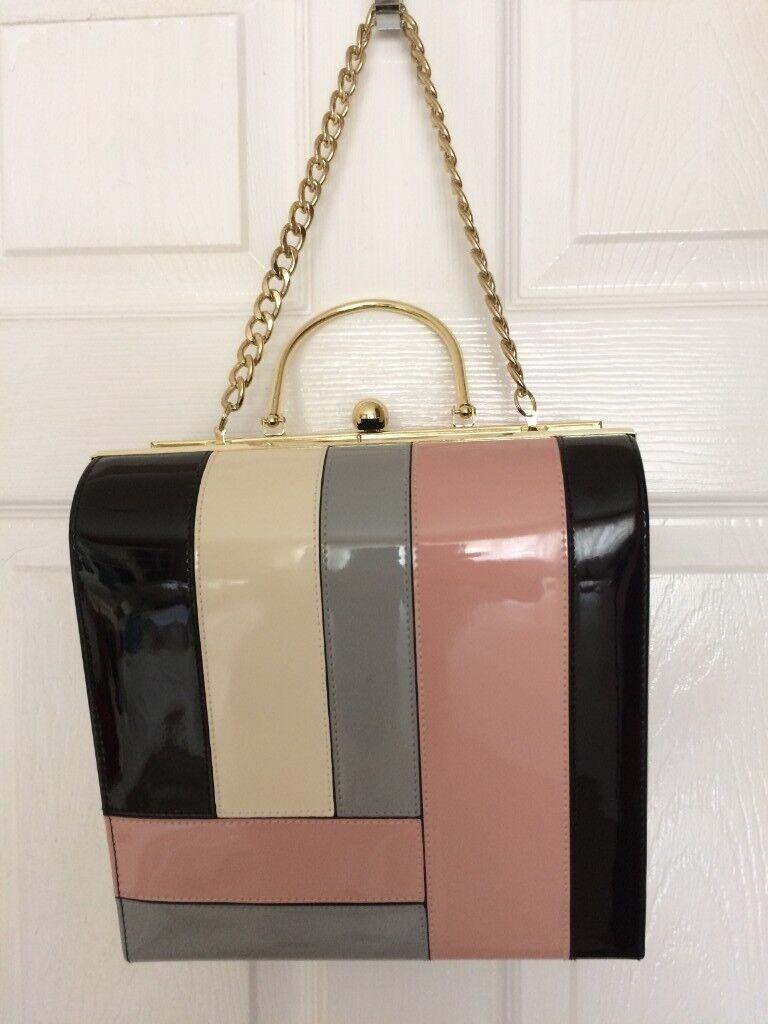 Handbag - Therapy Fiona Patent Box Frame Bag bfc1d50ee4676