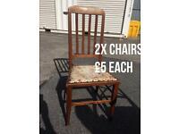 2x antique oak chairs