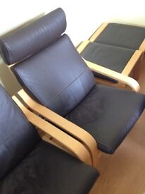 IKEA POANG LEATHER CHAIR & STOOL/ ONE CHAIR & ONE STOOL AVAILABLE /PRICED FOR QUICK SALE