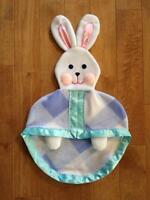 Blue Fisher Price Plaid Lovey Bunny Blanket Replica