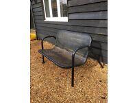Black coated metal bench