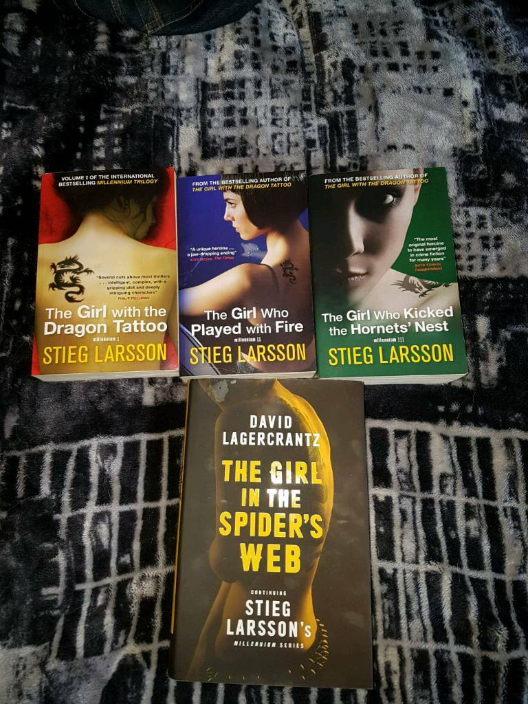 Millennium Trilogy & Sequel books. Girl With the Dragon Tattoo/ Fire/ Hornets Nest & Spiders Web