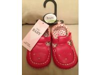 Red leather baby pram shoes
