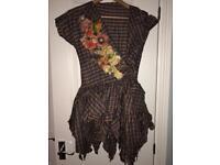 Handmade tartan dress with hand drawn flowers