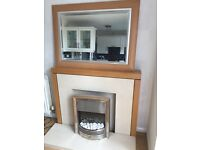 Fireplace - Light wood with cream marble. Silver Electric Fire & Mirror