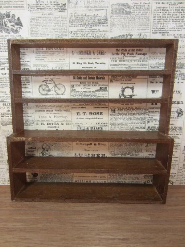 *Miniature Dollhouse General Store Wall Display Rack Wood, Vintage