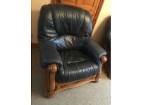 Navy leather 3 piece suite and 2 matching armchairs