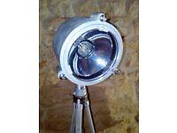 Upcycled vintage nato tripod spot light