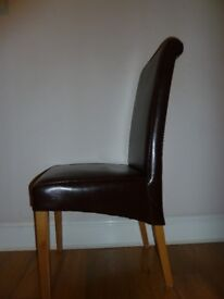 Brown Leather Dining Chairs - 6 total