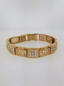 Versace bracelet in 10kt yellow gold set with AAA cz.