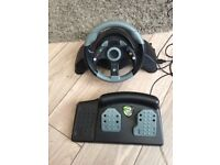 mc2 mad catz xbox 360 steering wheel and pedals