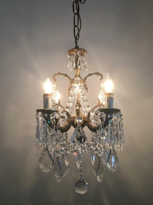 ANTIQUE VTG EUROPEAN BRASS w FRENCH & CZECH CRYSTALS PETITE TINY CHANDELIER LAMP