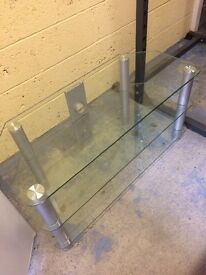 Next 3 tier clear glass tv stand