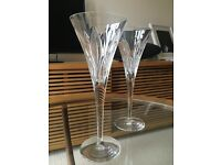 Two Stuart Lead Crystal Champagne Flutes