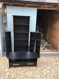 Matching bookshelves, tv cabinet and dvd towers