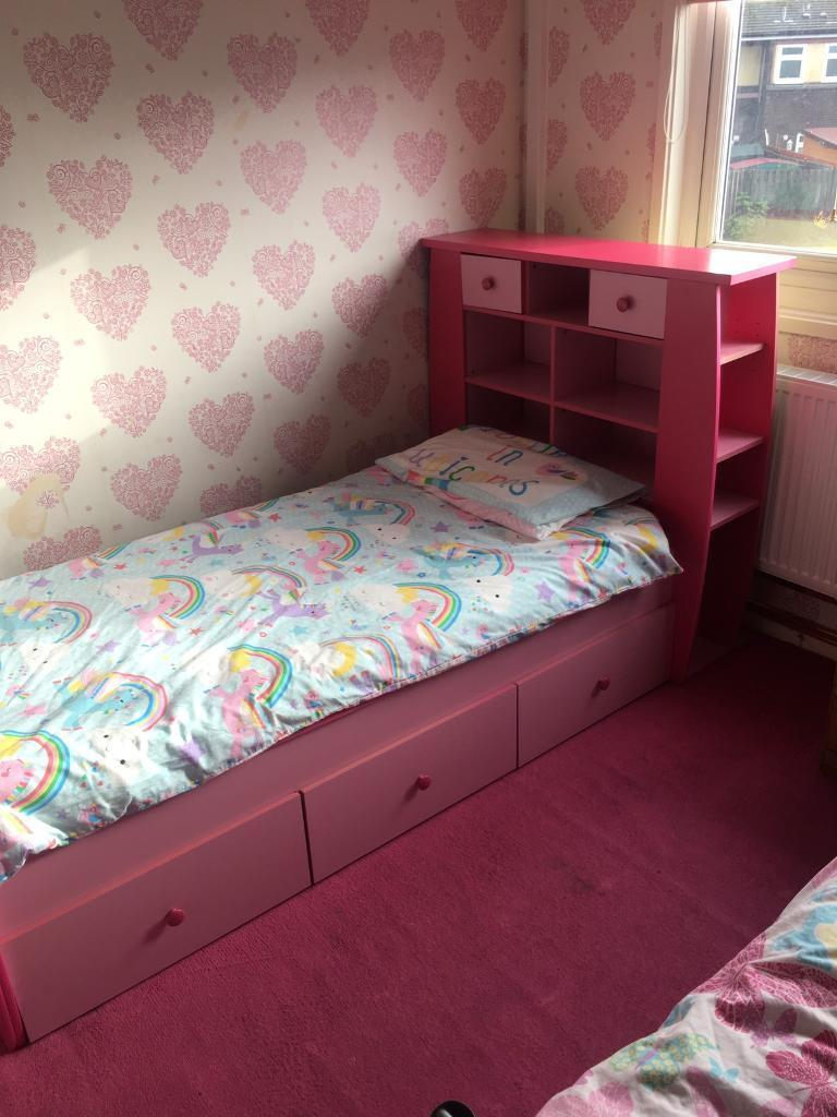 Pink Childs Bed With Storage Headboard Sold Stc