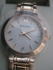 Bulova Diamond Mother of Pearl Dial Women Watch. 27mm. Analogue Display. Rose Gold Plated Bracelet. Water Resistant. NEW