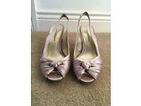 Dorothy Perkins mink satin sling back shoes size 5.