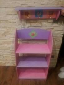 Free Pink bookshelf kids storage with coat rack